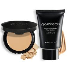 Glo Minerals pressed base and liquid satin II